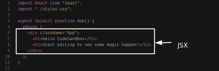 Image of jsx in the code